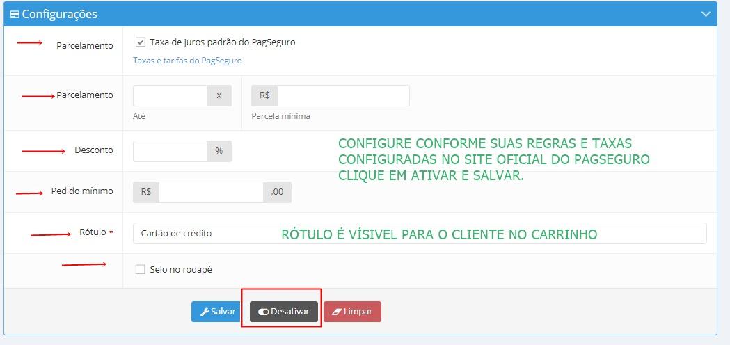 CONFIGURANDO PAGSEGURO NA LOJA E-COM.CLUB